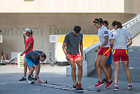 """Lucerne, SWITZERLAND, 12th July 2018, Thursday, Chinese, atheletes,"""" testing their footwork"""", on the """"loose ladder"""", FISA World Cup III, Lake Rotsee, © Peter SPURRIER,"""