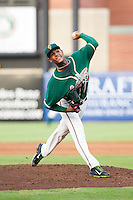 Greensboro Grasshoppers starting pitcher Jarlin Garcia (33) delivers a pitch to the plate against the Hagerstown Suns at NewBridge Bank Park on June 21, 2014 in Greensboro, North Carolina.  The Grasshoppers defeated the Suns 8-4. (Brian Westerholt/Four Seam Images)