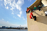 "January 27, 2012, Tokyo, Japan - (L to R) Traceurs (Parkour practitioners) Jun ""Sullivan"" Sato, ""Yutaro"" and ""Zen"". Practicing Parkour in Odaiba, Tokyo, Japan, January 27, 2012. Parkour is a modern method of physical training, also known as freerunning. It was founded in France in the 1990s. There is a small group of around 50 parkour practitioners in Tokyo. (Photo by Tony McNicol/AFLO)"