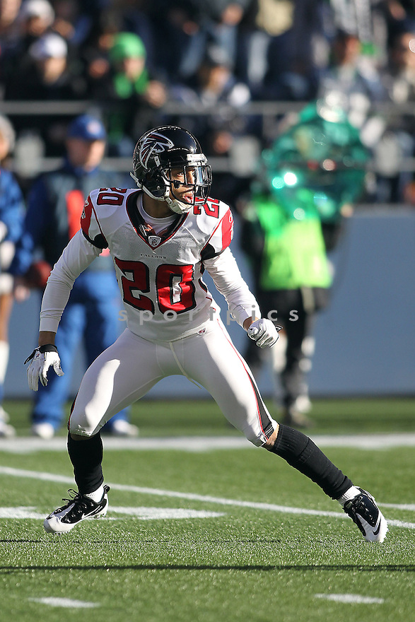 December 19, 2010:  Atlanta Falcons cornerback #20 Brent Grimes sets up on defense against Seattle.  Atlanta defeated Seattle 34-18 at Quest Field in Seattle, WA.
