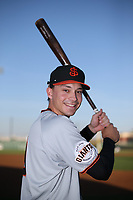 Bryan Reynolds (9) of the San Jose Giants poses for a photo before a game against the Lancaster JetHawks at The Hanger on April 10, 2017 in Lancaster, California. Lancaster defeated San Jose 11-7. (Larry Goren/Four Seam Images)