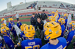 Los Angeles, CA 02/01/14 - UCSB Assistant Coach Jon Miller addresses the Gauchos during a time out in the first half of the game against USC at Cromwell Field.