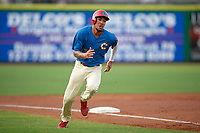 Philadelphia Phillies shortstop J.P. Crawford (43) scores a run in the bottom of the third inning during a game against the Fort Myers Miracle while on rehab assignment with the Clearwater Threshers on May 31, 2018 at Spectrum Field in Clearwater, Florida.  Clearwater defeated Fort Myers 5-1.  (Mike Janes/Four Seam Images)