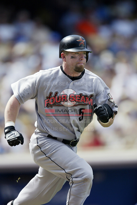 Jeff Bagwell of the Houston Astros runs the bases during a 2002 MLB season game against the Los Angeles Dodgers at Dodger Stadium, in Los Angeles, California. (Larry Goren/Four Seam Images)