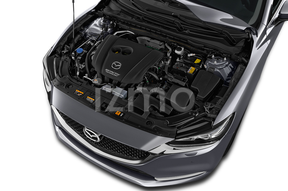 Car stock 2018 Mazda Mazda6 Skycruise 4 Door Sedan engine high angle detail view