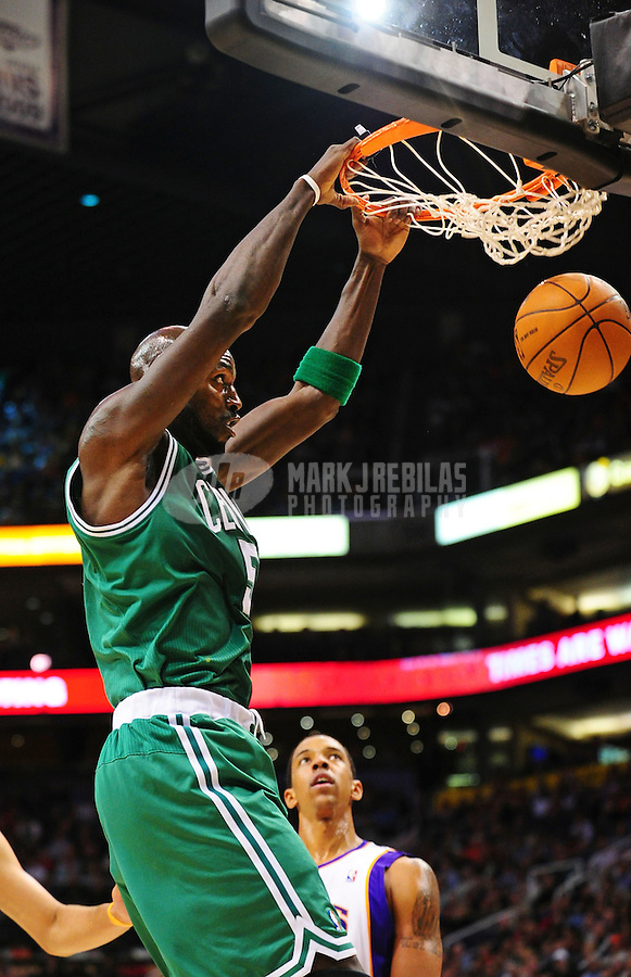 Jan. 28, 2011; Phoenix, AZ, USA; Boston Celtics forward (5) Kevin Garnett against the Phoenix Suns at the US Airways Center. Mandatory Credit: Mark J. Rebilas-
