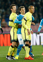 Ivan Persic  , Napoli's Manolo Gabbiadini  and  Joao Filho during the Quartef-final of Tim Cup soccer match,between SSC Napoli and vFC Inter    at  the San  Paolo   stadium in Naples  Italy , January 20, 2016