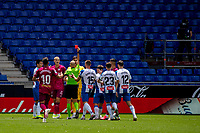 13th June 2020, Barcelona, Spain; La Liga football, RCD Espanyol versus Alaves; The Referee sends Alaves goalkeeper Fernando Pacheco off in the 19th minute for handling the ball outside his area