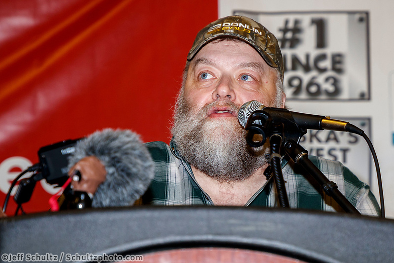 The Golden Clipboard Award for the best checkpoint is announced by Mark Nordman, Iditarod Trail Committee race director&nbsp;to the Manley checkpoint headed up by Joee and Pam Redington at the Nome Musher's Award Banquet during the 2017 Iditarod on Sunday March 19, 2017.<br /> <br /> Photo by Jeff Schultz/SchultzPhoto.com  (C) 2017  ALL RIGHTS RESERVED
