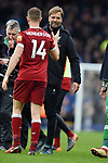 Liverpool Manager Jurgen Klopp and Jordan Henderson of Liverpoolat the end of the premier league match at Goodison Park Stadium, Liverpool. Picture date 7th April 2018. Picture credit should read: Robin Parker/Sportimage
