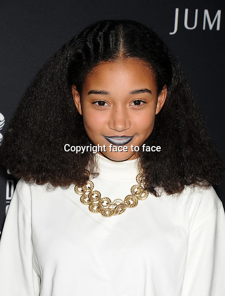 BEVERLY HILLS, CA- FEBRUARY 22: Actress Amandla Stenberg arrives at the 16th Costume Designers Guild Awards at The Beverly Hilton Hotel on February 22, 2014 in Beverly Hills, California.<br />