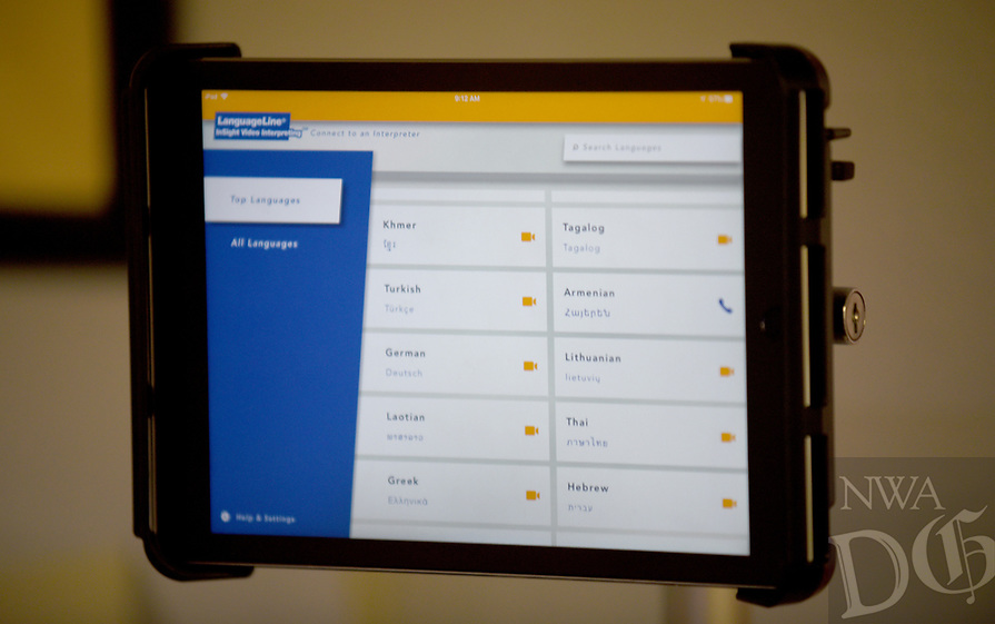 NWA Democrat-Gazette/DAVID GOTTSCHALK  A portion of the menu of a program that offers interpreters through an iPad is visible Wednesday, July 3, 2019, at the Mercy Clinic in Springdale. The program, that offers 200 different languages, is helping to serve non English speaking patients.
