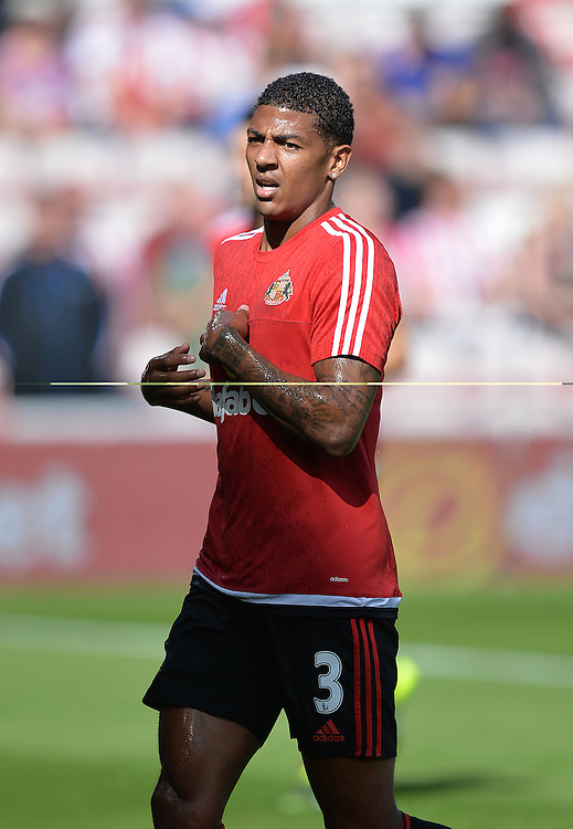 Sunderland's Patrick van Aanholt<br /> <br /> Photographer Dave Howarth/CameraSport<br /> <br /> Football - Barclays Premiership - Sunderland v Tottenham Hotspur - Sunday 13th September 2015 - Stadium of Light - Sunderland<br /> <br /> &copy; CameraSport - 43 Linden Ave. Countesthorpe. Leicester. England. LE8 5PG - Tel: +44 (0) 116 277 4147 - admin@camerasport.com - www.camerasport.com