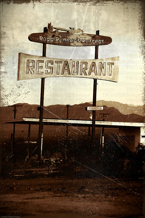 A dilapidated and ruined Restaurant on Route 66 near Needles in the wasteland of the Mojave Desert.