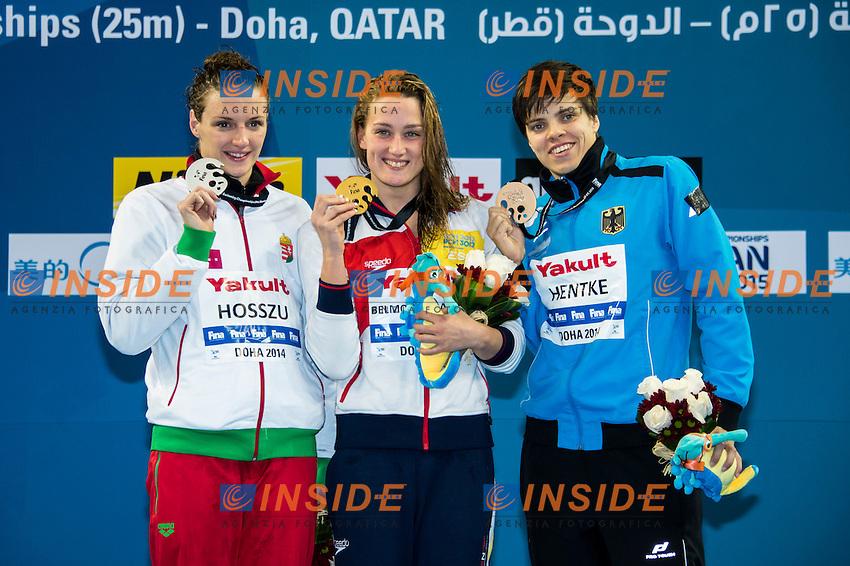 BELMONTE GARCIA Mireya ESP Gold Medal WR<br /> HOSSZU Katinka HUN Silver Medal<br /> HENTKE Franziska GER Bronze Medal<br /> Women's 200m Butterfly Final<br /> Doha Qatar 03-12-2014 Hamad Aquatic Centre, 12th FINA World Swimming Championships (25m). Nuoto Campionati mondiali di nuoto in vasca corta.<br /> Photo Giorgio Scala/Deepbluemedia/Insidefoto