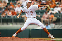 Texas Longhorns pitcher Morgan Cooper #41 delivers a pitch to the plate during the NCAA baseball game against the Oklahoma State Cowboys on April 26, 2014 at UFCU Disch–Falk Field in Austin, Texas. The Cowboys defeated the Longhorns 2-1. (Andrew Woolley/Four Seam Images)