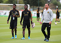 20190903 – TUBIZE , BELGIUM : Belgian Francis Amuzu (left), Jeremy Doku (middle) and Physio Benjamin Tubiermont (right) are pictured during a training session of the U21 youth team of the Belgian national soccer team Red Devils , a training session as a preparation for their first game against Wales in the qualification for the European Championship round in group 9 on the road for Hungary and Slovenia in 2021, Tuesday 3rd of September 2019 at the National training grounds in Tubize , Belgium. PHOTO SPORTPIX.BE | Sevil Oktem