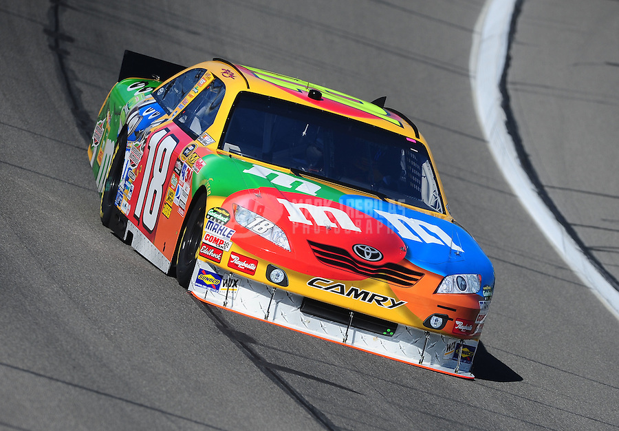 Oct. 1, 2010; Kansas City, KS, USA; NASCAR Sprint Cup Series driver Kyle Busch during practice for the Price Chopper 400 at Kansas Speedway. Mandatory Credit: Mark J. Rebilas-