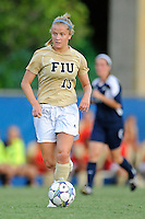 27 August 2011:  FIU's Nicole DiPerna (16) moves the ball upfield in the first half as the FIU Golden Panthers defeated the University of Arkon Zips, 1-0, at University Park Stadium in Miami, Florida.
