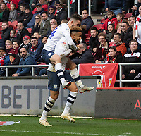 Preston North End's Callum Robinson celebrates scoring his side's first goal <br /> <br /> Photographer David Horton/CameraSport<br /> <br /> The EFL Sky Bet Championship - Bristol City v Preston North End - Saturday 10th November 2018 - Ashton Gate Stadium - Bristol<br /> <br /> World Copyright &copy; 2018 CameraSport. All rights reserved. 43 Linden Ave. Countesthorpe. Leicester. England. LE8 5PG - Tel: +44 (0) 116 277 4147 - admin@camerasport.com - www.camerasport.com