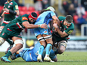 6th January 2018, Welford Road Stadium, Leicester, England; Aviva Premiership rugby, Leicester Tigers versus London Irish; Mike Fitzgerald (Tigers) working hard in the loose
