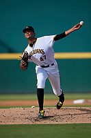 Bradenton Marauders starting pitcher Oddy Nunez (47) delivers a pitch during the second game of a doubleheader against the Jupiter Hammerheads on May 27, 2018 at LECOM Park in Bradenton, Florida.  Jupiter defeated Bradenton 4-1.  (Mike Janes/Four Seam Images)