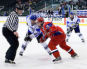 Mikael Granlund (Finland - 11), Andrey Ankudinov (Russia - 12) - Russia defeated Finland 4-0 at the Urban Plains Center in Fargo, North Dakota, on Friday, April 17, 2009, in their semi-final match during the 2009 World Under 18 Championship.