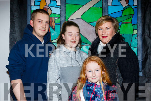 L-R Jason O'Donnell, Natasha Hayes with Kay&Orlaith Howley giggling at the Panto in Castlegregory last Saturday night.