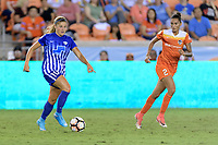 Houston, TX - Wednesday June 28, 2017: Rosie White brings the ball up the field during a regular season National Women's Soccer League (NWSL) match between the Houston Dash and the Boston Breakers at BBVA Compass Stadium.
