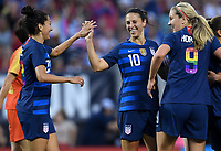 Cleveland, Ohio - Tuesday June 12, 2018: Christen Press, Carli Lloyd during an international friendly match between the women's national teams of the United States (USA) and China PR (CHN) at FirstEnergy Stadium.