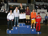 John Greisheimer (1st - Wantagh); Donnie Vinson (2nd - Whitney Point); T.J. Neidhart (3rd - Shoreham Wading River); Mick Letcher (4th - East Syracuse Minoa); John Coffey (5th - Pearl River); and Jeff Goff (6th - Penfield) pose on the podium for the Division One 145 weight class during the NY State Wrestling Championship finals at Blue Cross Arena on March 9, 2009 in Rochester, New York.  (Copyright Mike Janes Photography)