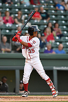 Left fielder Lorenzo Cedrola (35) of the Greenville Drive bats in a game against the Kannapolis Intimidators on Wednesday, May 9, 2018, at Fluor Field at the West End in Greenville, South Carolina. Kannapolis won, 10-2. (Tom Priddy/Four Seam Images)