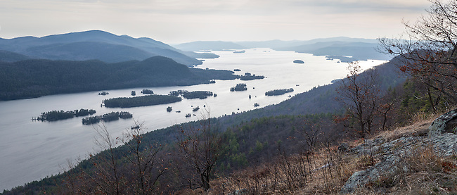 View over Lake George from French Point Mountain in the Tongue Mountain Range.