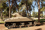 Israel, Jerusalem, Ammunition Hill, formerly a Jordanian Army stronghold, was conquered in the Six Day War in 1967. The hill was converted into a national memorial site and museum, An old Israeli Sherman tank<br />