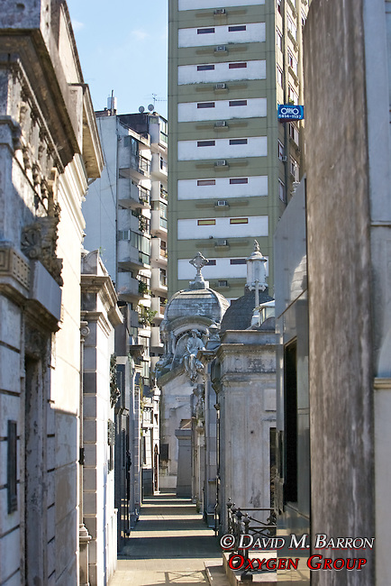 La Recoleta Cemetery With Modern City Behind