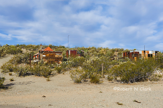 Some original miner's cabins in Serachlight, Nevada
