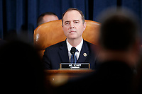 Democratic Chairman of the House Permanent Select Committee on Intelligence Adam Schiff prior to the House Permanent Select Committee on Intelligence public hearing on the impeachment inquiry into US President Donald J. Trump, on Capitol Hill in Washington, DC, USA, 19 November 2019. The impeachment inquiry is being led by three congressional committees and was launched following a whistleblower's complaint that alleges US President Donald J. Trump requested help from the President of Ukraine to investigate a political rival, Joe Biden and his son Hunter Biden.<br /> Credit: Shawn Thew / Pool via CNP/AdMedia