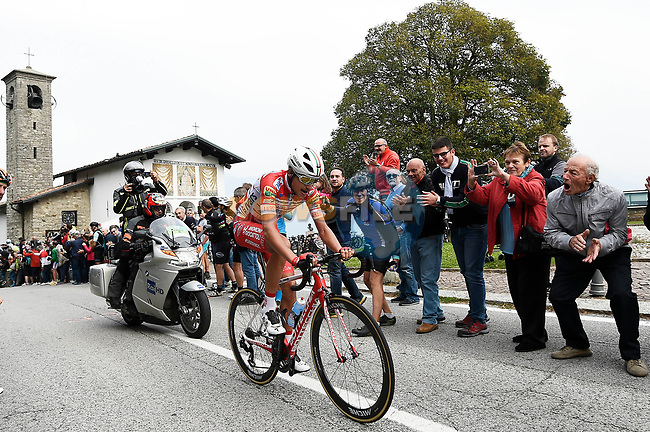 Fausto Masnada (ITA) Androni Giocattoli–Sidermec first across the summit at Madonna del Ghisallo during the 113th edition of Il Lombardia 2019 running 243km from Bergamo to Como, Italy. 12th Octobre 2019. <br /> Picture: Fabio Ferrari/LaPresse | Cyclefile<br /> <br /> All photos usage must carry mandatory copyright credit (© Cyclefile | LaPresse/Fabio Ferrari)
