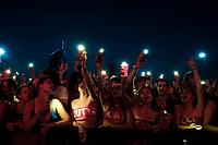Latina, July 21, 2018. Fans of Calcutta attend his concert at Latina stadium.