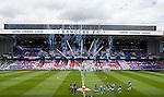 Rangers chairman Dave King unfurls the championship league flag