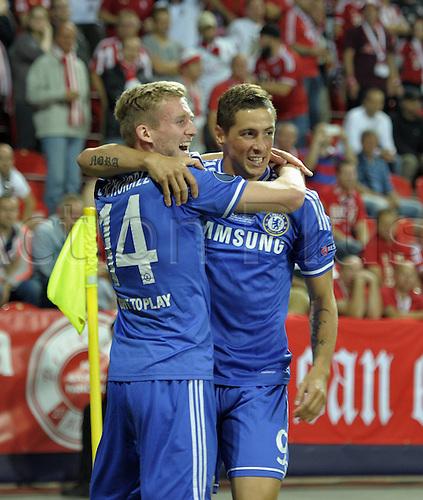 30.08.2013. Prague, Czech Republic.   UEFA Supercup 2013 FC Bayern Munich versus Chelsea.  Andre Schurrle and Fernando Torres both Chelsea