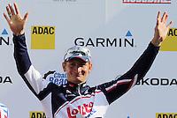 BERLIM, ALEMANHA, 10 JUNHO 2012 - VELOTHON BERLIM 2012 - O ciclista alemao Andre Greipel comemora vitoria do Garmin ProRace, durante o Velothon Berlim 2012 na Alemanha, neste domingo, 10 (FOTO: HENNING ANGERER /PIXATHLON / BRAZIL PHOTO PRESS).