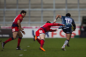 24th March 2018, AJ Bell Stadium, Salford, England; Aviva Premiership rugby, Sale Sharks versus Worcester Warriors; Denny Solomona of Sale Sharks avoids the tackle of Bryce Heem of Worcester Warriors