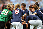 25 September 2011: Virginia's starters huddle before the start of the game. The University of Virginia Cavaliers defeated the University of North Carolina Tar Heels 1-0 in overtime at Fetzer Field in Chapel Hill, North Carolina in an NCAA Division I Women's Soccer game.