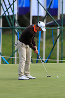 Romain Wattel (FRA) on the 2nd green during Round 2 of the KLM Open at Kennemer Golf &amp; Country Club on Friday 12th September 2014.<br /> Picture:  Thos Caffrey / www.golffile.ie