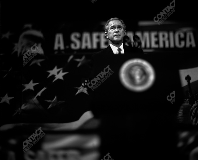 US President George W. Bush gives remarks on security in Burlington County, New Jersey. October 18, 2004