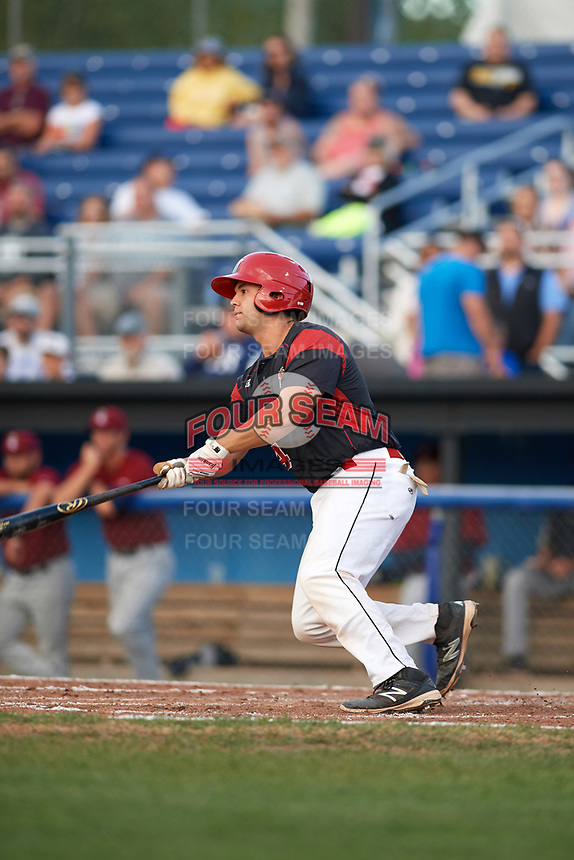 Batavia Muckdogs catcher Michael Hernandez (4) at bat during a game against the Mahoning Valley Scrappers on August 18, 2017 at Dwyer Stadium in Batavia, New York.  Mahoning Valley defeated Batavia 8-2.  (Mike Janes/Four Seam Images)