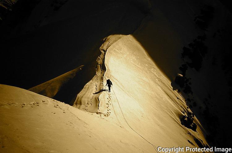 Climber on the West Ridge of Mount Hunter, Alaska Range.