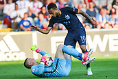 June 19th 2017, Kielce, Poland; UEFA European U-21 football championships, England versus Slovakia; Lewis Baker (ENG) help up his keeper Jordan Pickford (ENG) who jjst made a save from a free kick