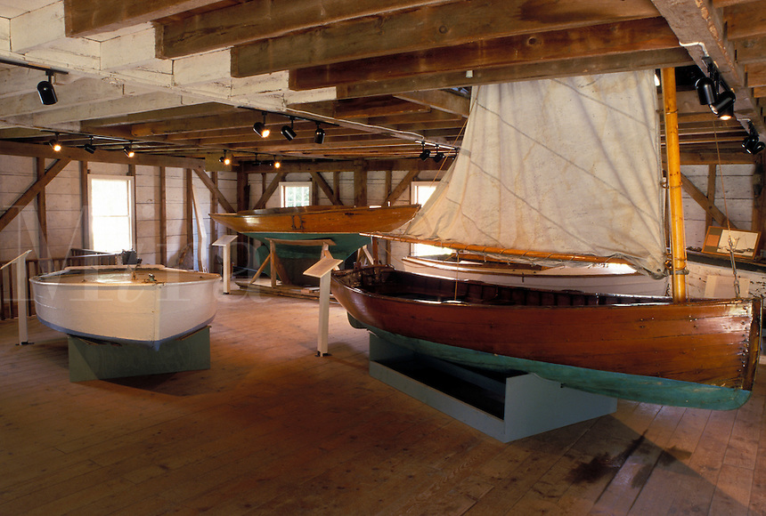 Searsport, ME, Maine, Boats displayed inside the Penobscot Marine Museum in Historic Searsport.